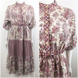 Vintage | Peasant Dress Floral Midi Ruffled 1980s